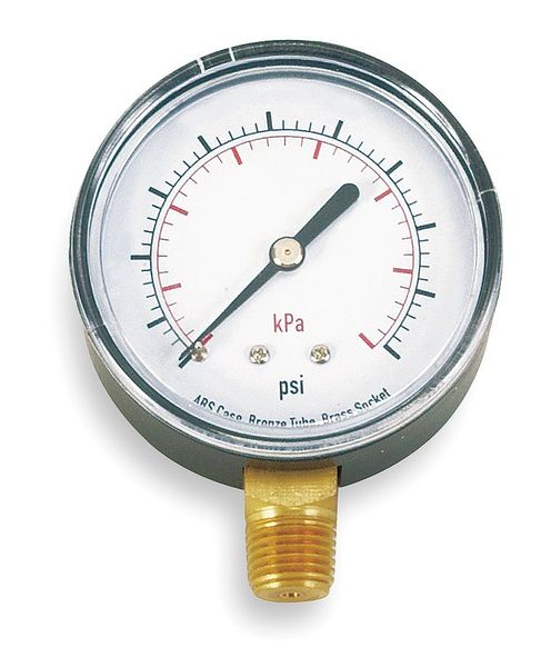 Zoro Select Pressure Gauge, Test, 1-1/2 In 4CJR7