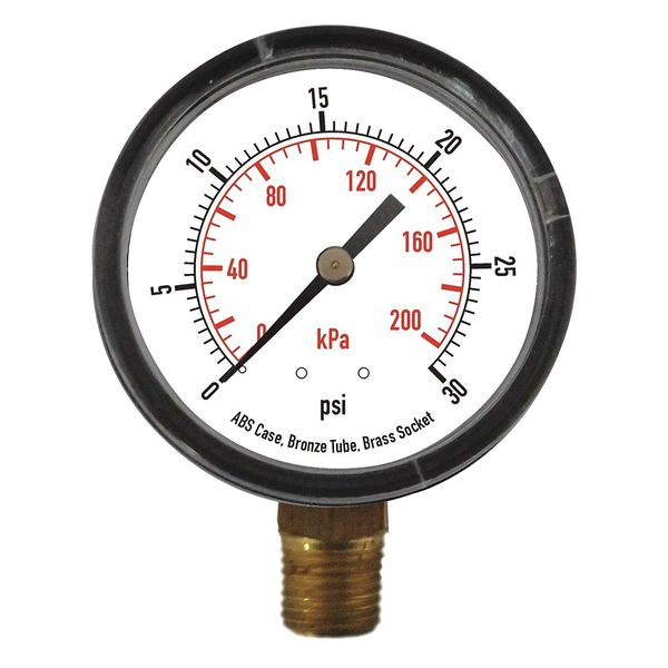 Zoro Select Pressure Gauge, Test, 1-1/2 In 4CJP9