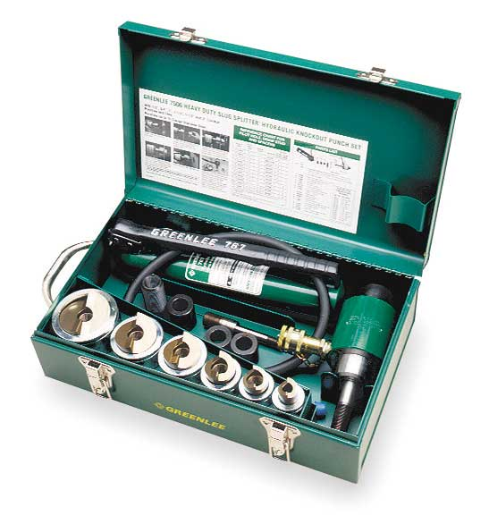 Greenlee 10 Piece Hydraulic Punch Driver Set,  10 ga Stainless Steel 7506