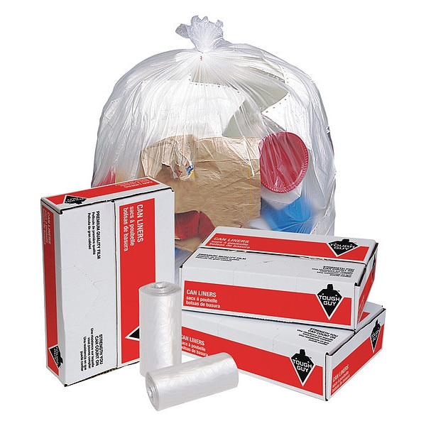 "Tough Guy 55 gal. Clear Trash Bags 36""x60"",  12 micron,  200PK 4KN34"