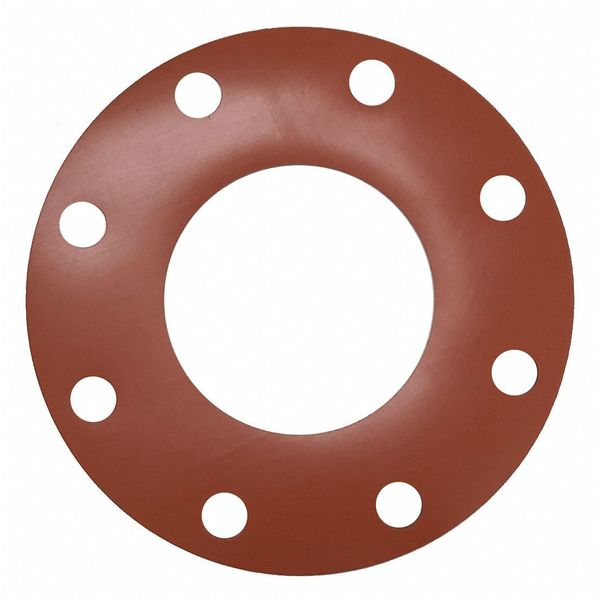 Zoro Select Flange Gasket, Full Face, 4 In, Silicone 4CYX2