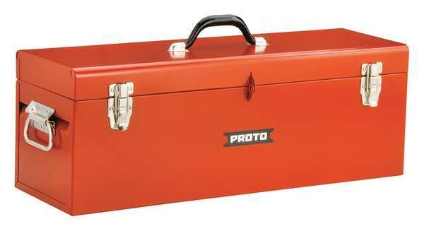"""Proto 26""""W Steel,  Safety Red Portable Tool Box,  Powder Coated,  9-1/2""""H J9969R"""