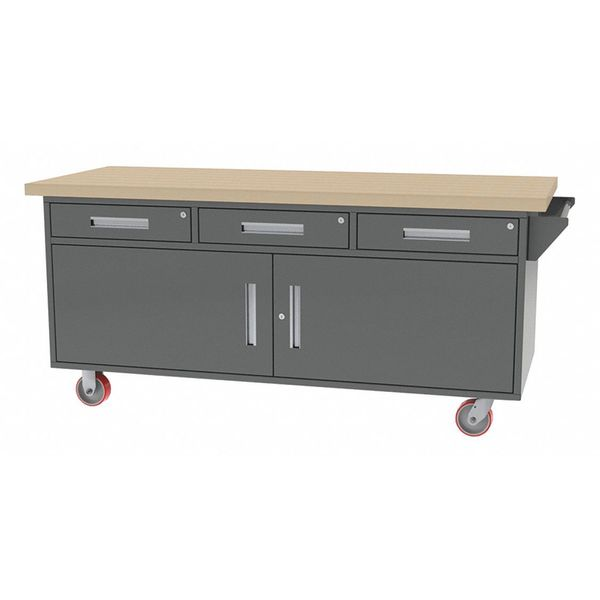 "Greene Manufacturing, Inc. Mobile Cab Bench, Butcher Block, 75""W, 30""D MG-88.M"