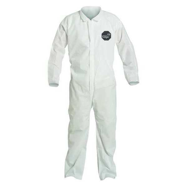 Dupont Collared Disposable Coverall ,  Xl ,  White ,  SMS ,  zipper PB120SWHXL002500