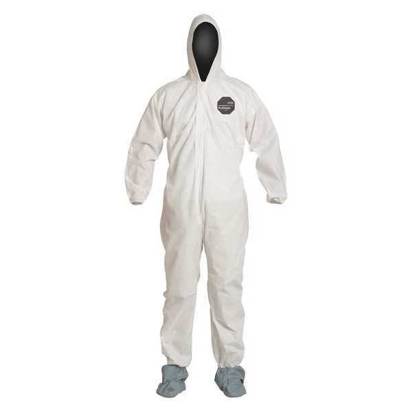 Dupont Hooded Disposable Coverall ,  M ,  White ,  SMS ,  zipper PB122SWHMD002500