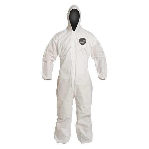 Dupont Hooded Disposable Coverall ,  2XL ,  White ,  SMS ,  zipper PB127SWH2X002500
