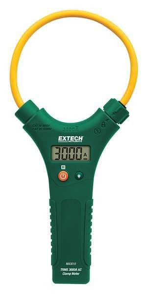 Extech Clamp Meter, 4-1/2in. Jaw, AAA Battery, LCD MA3010