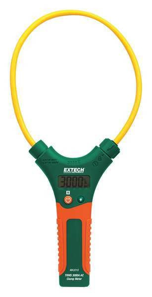 Extech Clamp Meter, 7 in. Jaw, AAA Battery, LCD MA3018