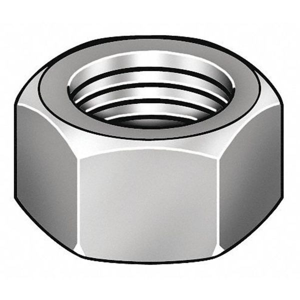 Zoro Select #12-24 Zinc Plated Finish Carbon Steel Machine Screw Hex Nuts,  100 pk. 325180-PG