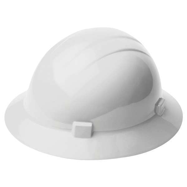Erb Safety Full Brim Hard Hat,  Type 1,  Class E,  Ratchet (4-Point),  White 19221