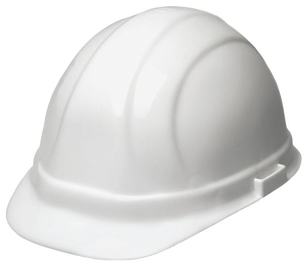 Erb Safety Front Brim Hard Hat,  Type 1,  Class E,  Ratchet (6-Point),  White 19951-WHITE