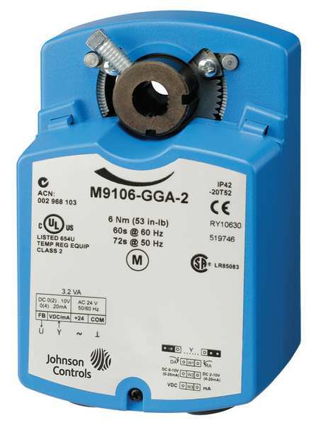 Johnson Controls Electric Actuator,  53 in.-lb.-4 to 125F,  Voltage: 24V AC M9106-GGA-2