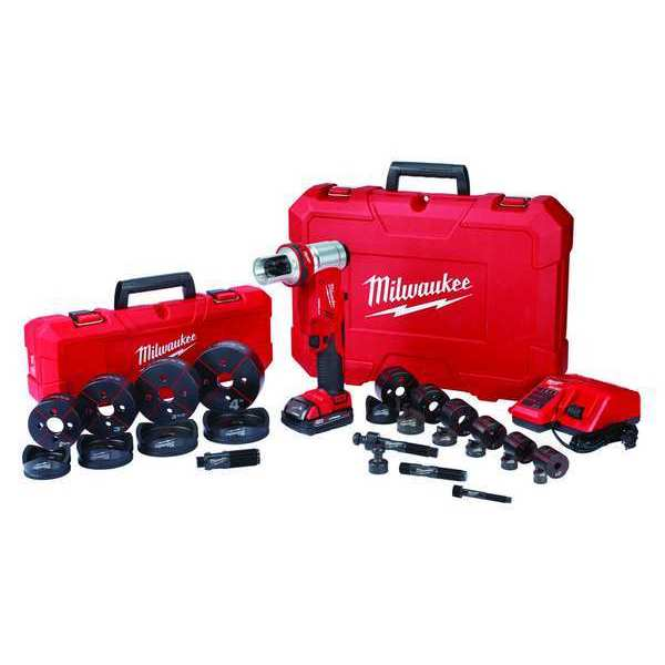 """Milwaukee M18™ FORCE LOGIC™ 18V 10-Ton Cordless Knockout Tool Kit w/ 1/2"""" to 4"""" Die Set (1 2.0Ah Battery + Accessory Pack & Hard Case Bundle) 2677-23"""