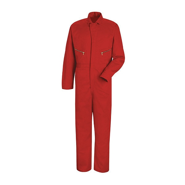 """Red Kap Mns Ls Cotton Coverall-Red ,  56"""" ,  Red ,  Cotton ,  Zipper Front CC18RD LN 56"""