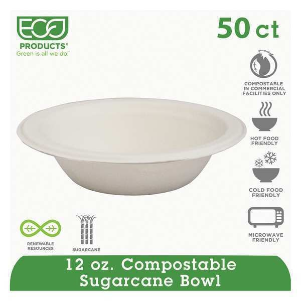 Eco-Products Bowl, 12 oz., Heavy Weight, White, PK50 EP-BL12