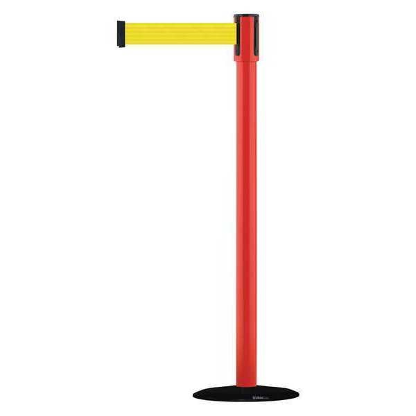 Tensabarrier Slimline Post, Yellow, Red Post Finish 890B-33-21-21-MAX-NO-Y5X-C