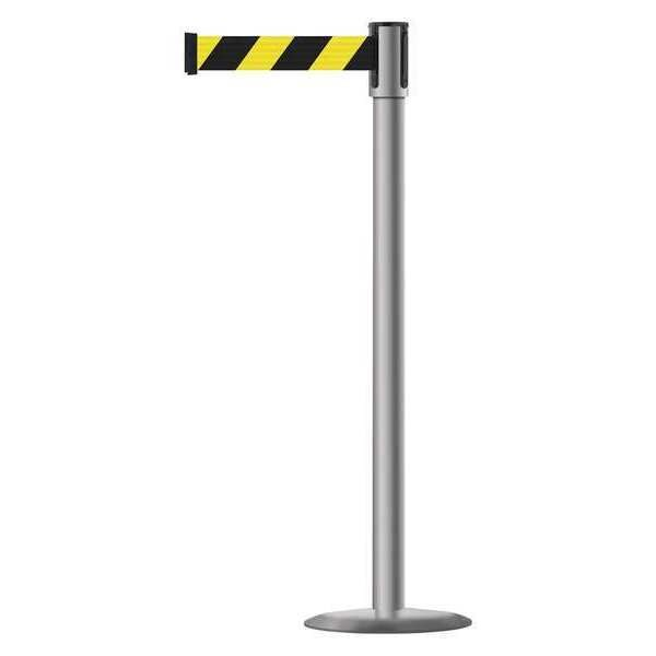 Tensabarrier Slimline Post, Black with Yellow Stripe 890U-3P-3P-3P-MAX-NO-D4X-C