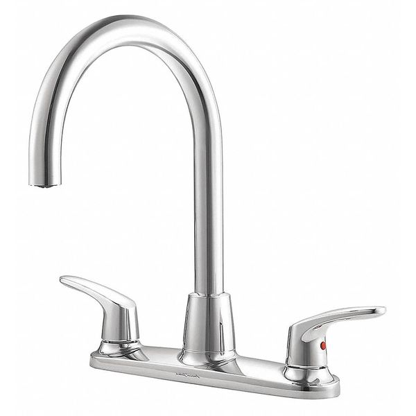 "American Standard Manual,  8"" Mount,  3 Hole Gooseneck Kitchen Faucet 7074550.002"