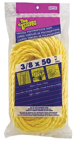 Zoro Select Rope, 50ft, Yllw, 308lb., 3/8 in, Polyprpylne 362YP-WA