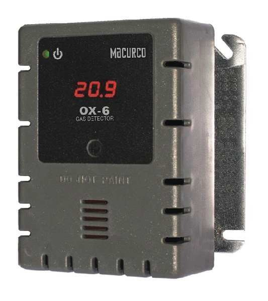 Macurco Fixed Gas Detector, O2,900 sq. ft. OX-6