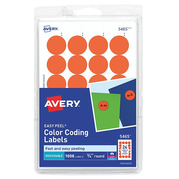 """Avery Avery® Orange Removable Print or Write Color Coding Labels for Laser and Inkjet Printers 5465,  3/4"""" Round,  Pack of 1008 727825465"""