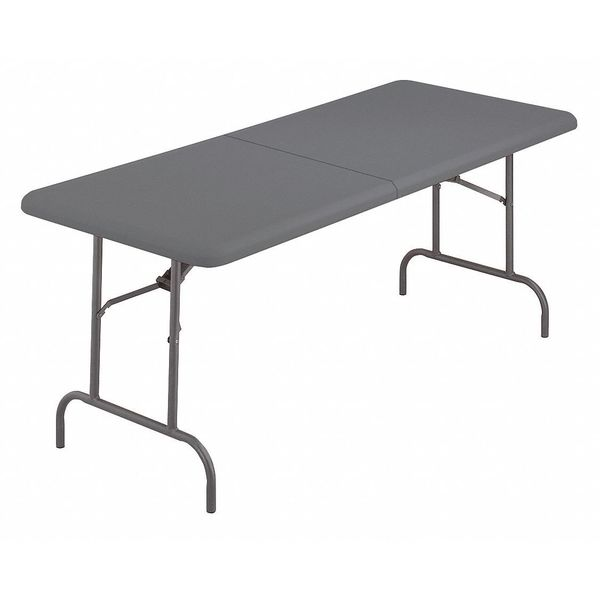"""Iceberg Rectangle Folding Table ,  72"""" W 72"""" L 29"""" H,  Charcoal Tabletop 65467"""
