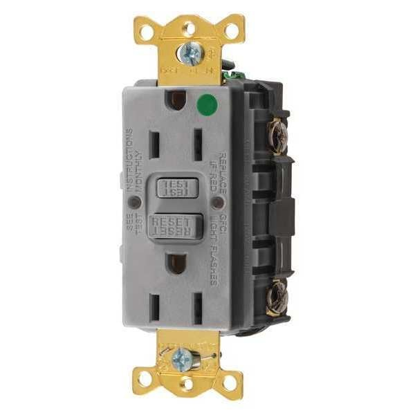 Hubbell Wiring Device-Kellems GFCI Receptacle, 15A, 125VAC, 5-15R, Gray GFRST82GY
