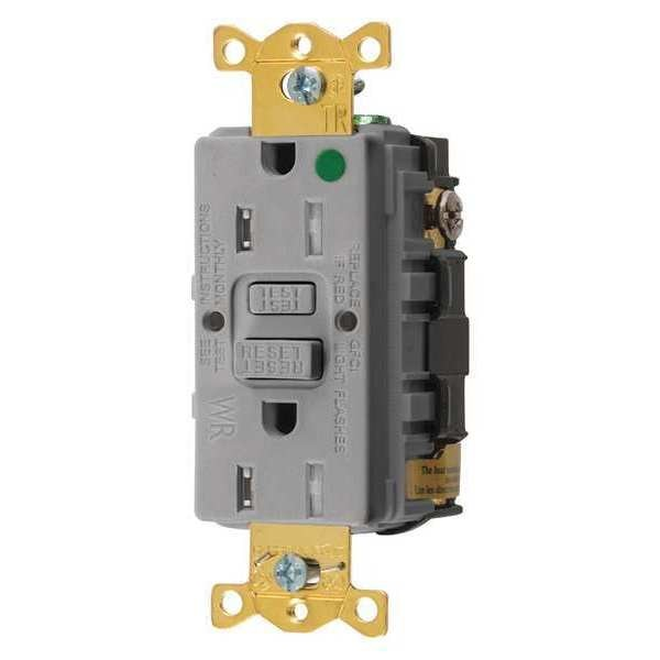 Hubbell Wiring Device-Kellems GFCI Receptacle, 15A, 125VAC, 5-15R, Gray GFTWRST82GY