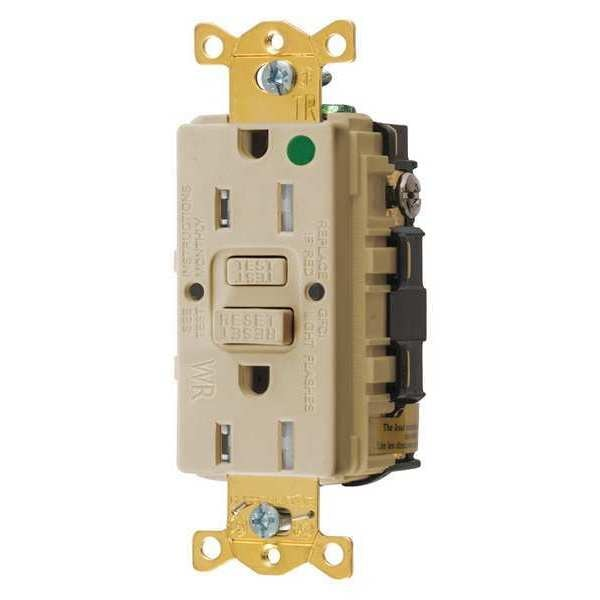 Hubbell Wiring Device-Kellems GFCI Receptacle, 15A, 125VAC, 5-15R, Ivory GFTWRST82I