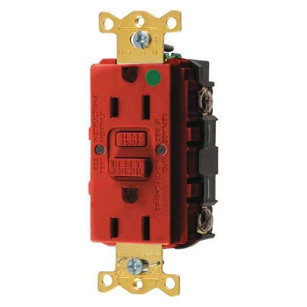 Hubbell Wiring Device-Kellems GFCI Receptacle, 15A, 125VAC, 5-15R, Red GFRST82R