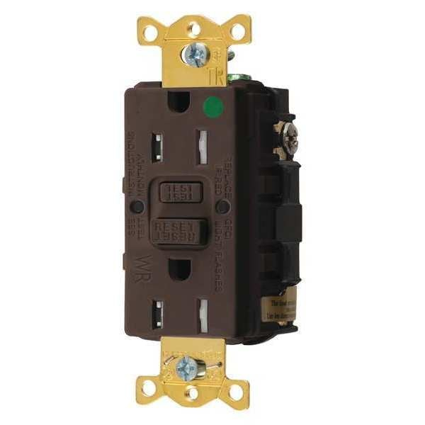 Hubbell Wiring Device-Kellems GFCI Receptacle, 15A, 125VAC, 5-15R, Brown GFTWRST82