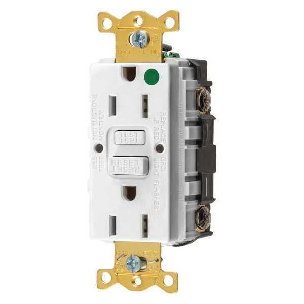 Hubbell Wiring Device-Kellems GFCI Receptacle, 15A, 125VAC, 5-15R, White GFRST82W