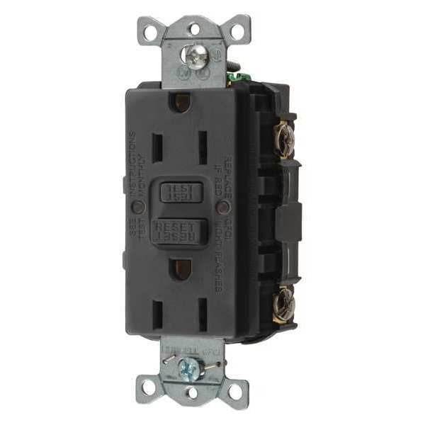 Hubbell Wiring Device-Kellems GFCI Receptacle, 15A, 125VAC, 5-15R, Black GFRST15BK