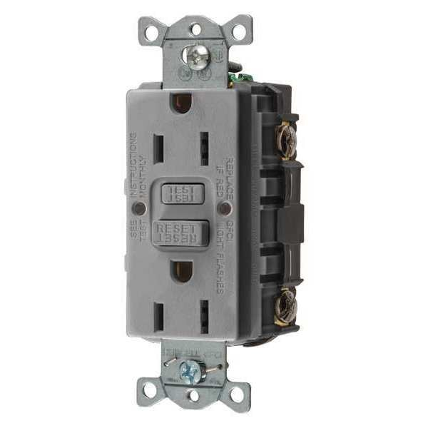 Hubbell Wiring Device-Kellems GFCI Receptacle, 15A, 125VAC, 5-15R, Gray GFRST15GY