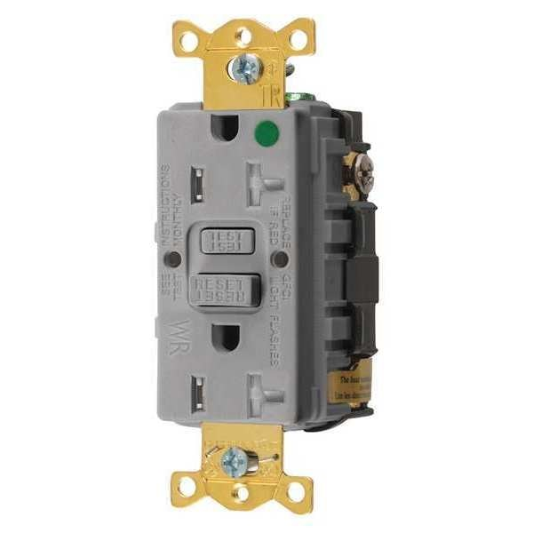 Hubbell Wiring Device-Kellems GFCI Receptacle, 20A, 125VAC, 5-20R, Gray GFTWRST83GY