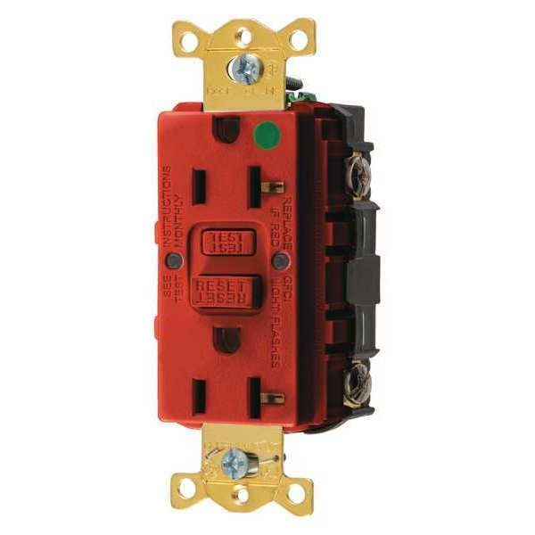 Hubbell Wiring Device-Kellems GFCI Receptacle, 20A, 125VAC, 5-20R, Red GFRST83R