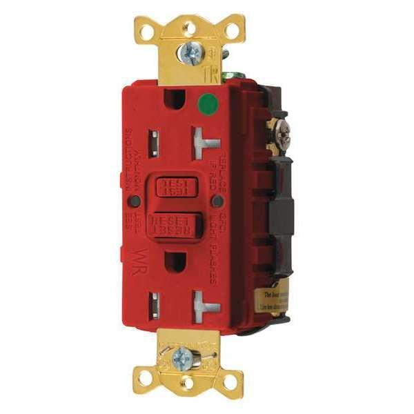 Hubbell Wiring Device-Kellems GFCI Receptacle, 20A, 125VAC, 5-20R, Red GFTWRST83R