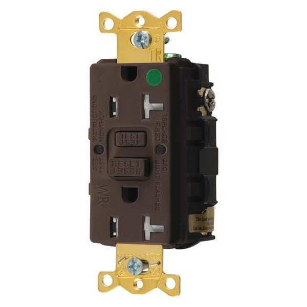 Hubbell Wiring Device-Kellems GFCI Receptacle, 20A, 125VAC, 5-20R, Brown GFTWRST83