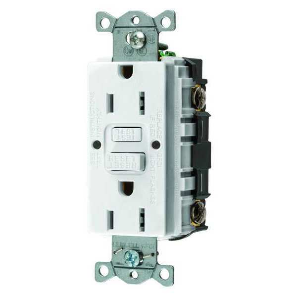 Hubbell Wiring Device-Kellems GFCI Receptacle,  15A,  125VAC,  5-15R,  White,  Outlet Type: Decorator GFRST15W
