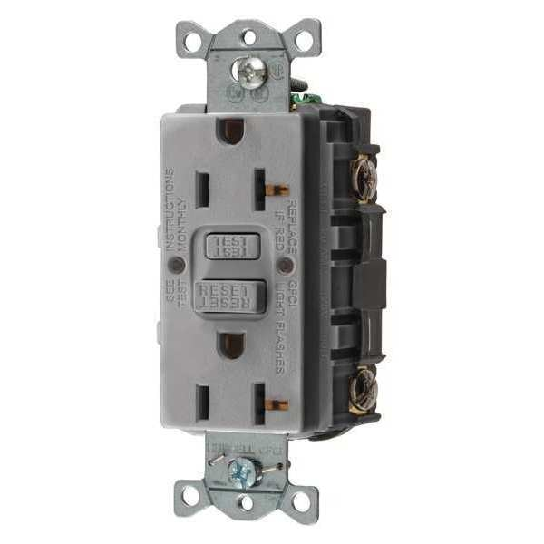 Hubbell Wiring Device-Kellems GFCI Receptacle, 20A, 125VAC, 5-20R, Gray GFRST20GY