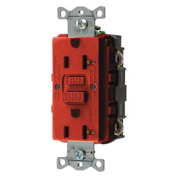 Hubbell Wiring Device-Kellems GFCI Receptacle, 15A, 125VAC, 5-15R, Red GFRST15R
