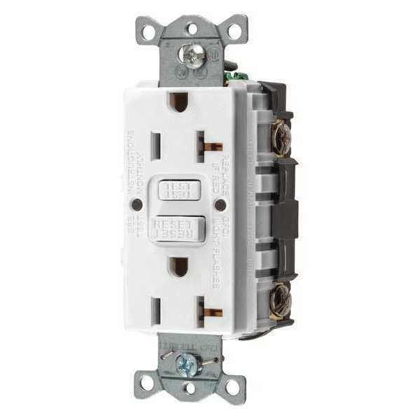 Hubbell Wiring Device-Kellems GFCI Receptacle, 20A, 125VAC, 5-20R, White GFRST20W