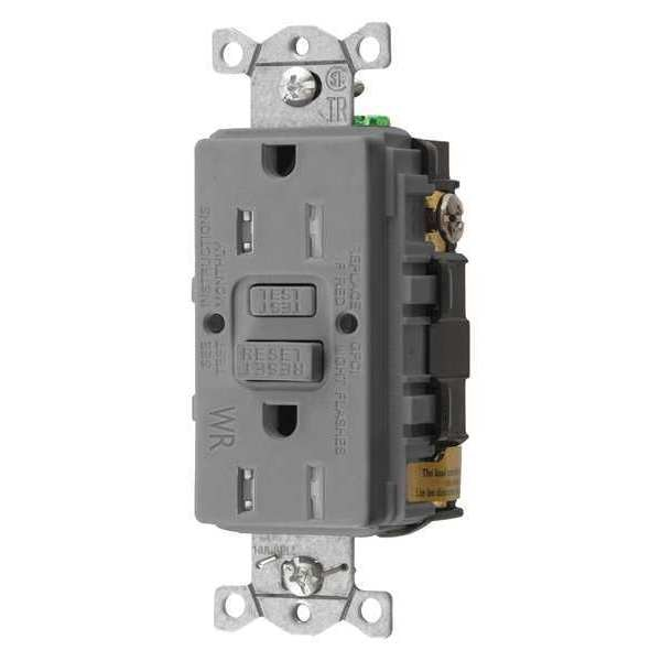 Hubbell Wiring Device-Kellems GFCI Receptacle, 15A, 125VAC, 5-15R, Gray GFTWRST15GY