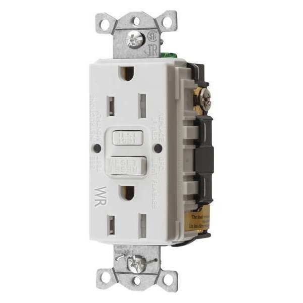 Hubbell Wiring Device-Kellems GFCI Receptacle, 15A, 125VAC, 5-15R, White GFTWRST15W