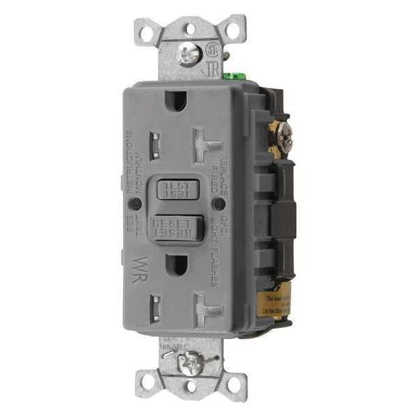 Hubbell Wiring Device-Kellems GFCI Receptacle, 20A, 125VAC, 5-20R, Gray GFTWRST20GY