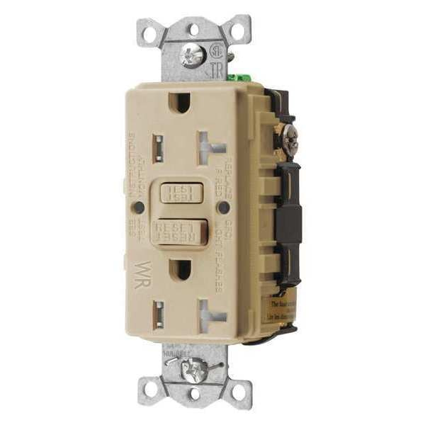 Hubbell Wiring Device-Kellems GFCI Receptacle, 20A, 125VAC, 5-20R, Ivory GFTWRST20I