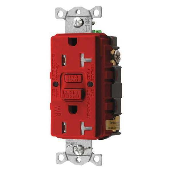 Hubbell Wiring Device-Kellems GFCI Receptacle, 20A, 125VAC, 5-20R, Red GFTWRST20R