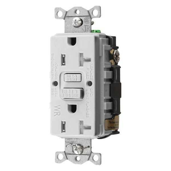Hubbell Wiring Device-Kellems GFCI Receptacle, 20A, 125VAC, 5-20R, White GFTWRST20W