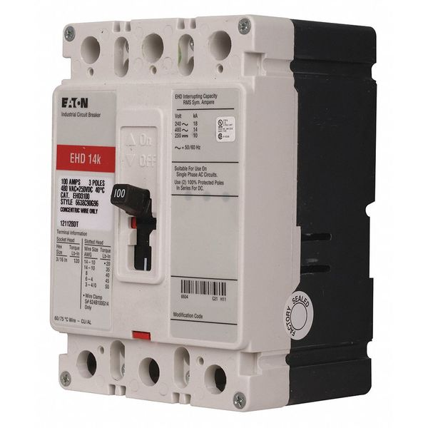 Eaton 20 A A Free Standing Standard Molded Case Circuit Breaker ,  480V AC EHD3020