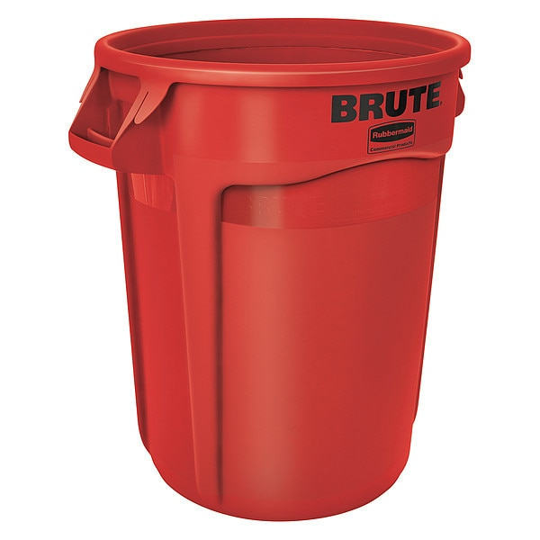 Rubbermaid 32 gal. Polyethylene Round Trash Can ,  Red FG263200RED